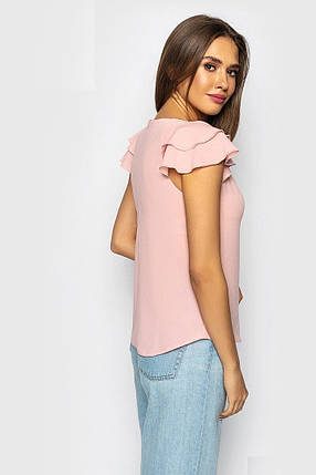 Женская блузка c коротким рукавом, персиковая, фото 2