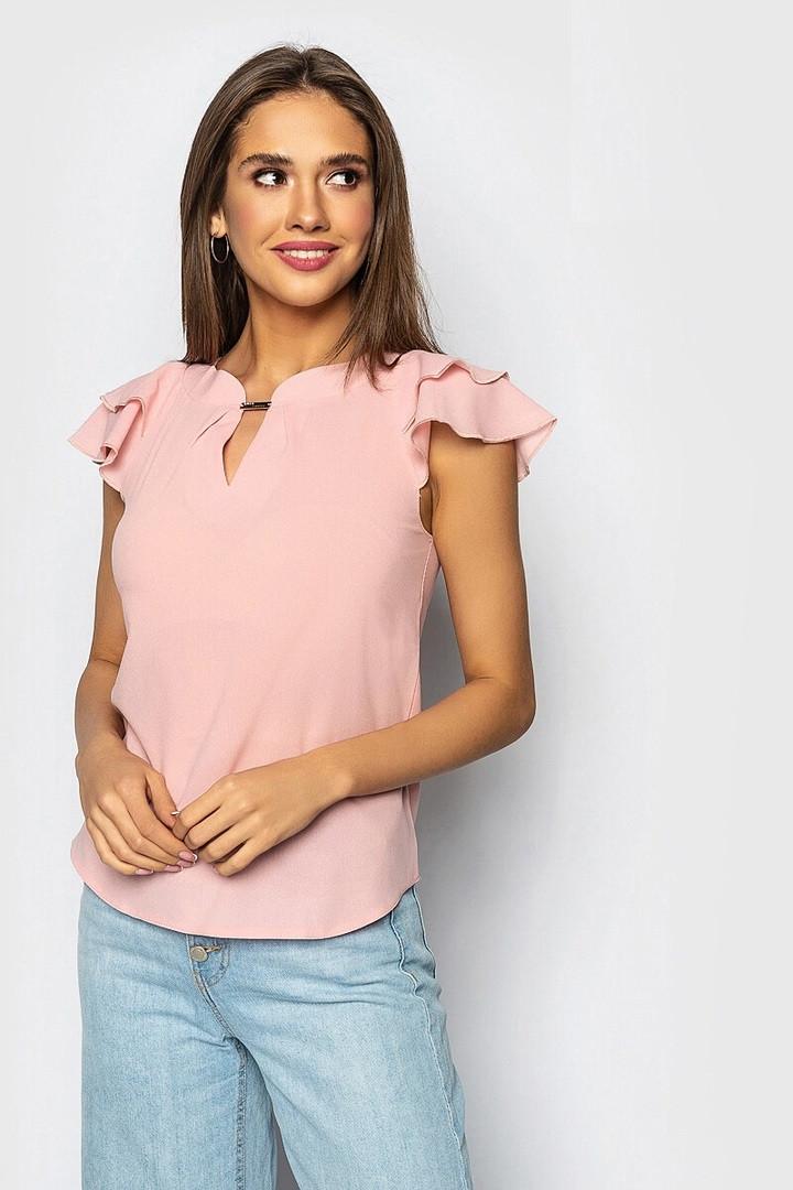 Женская блузка c коротким рукавом, персиковая