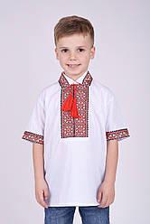 Вышиванка для мальчика с коротким рукавом и воротником на рост 110-152