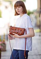 Сумка-клатч женская натуральная кожа Krast, пазл коричневая, фото 1