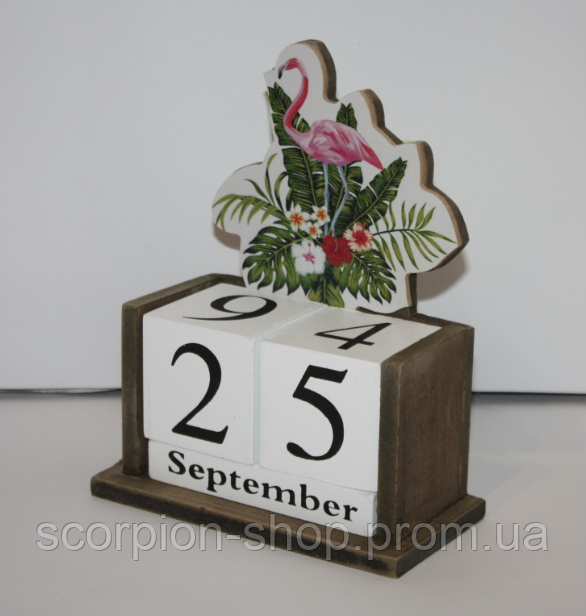 """Вечный календарь """"Фламинго"""" Размер: 14,5*7*20 см"""