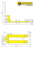 Тележка ручная гидравлическая DF-III, 2500 кг, фото 2