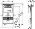 Установочный модуль TECE base 4 в 1 с клавишей Base + унитаз KERAMAG Renova Plan Rimfr, фото 5