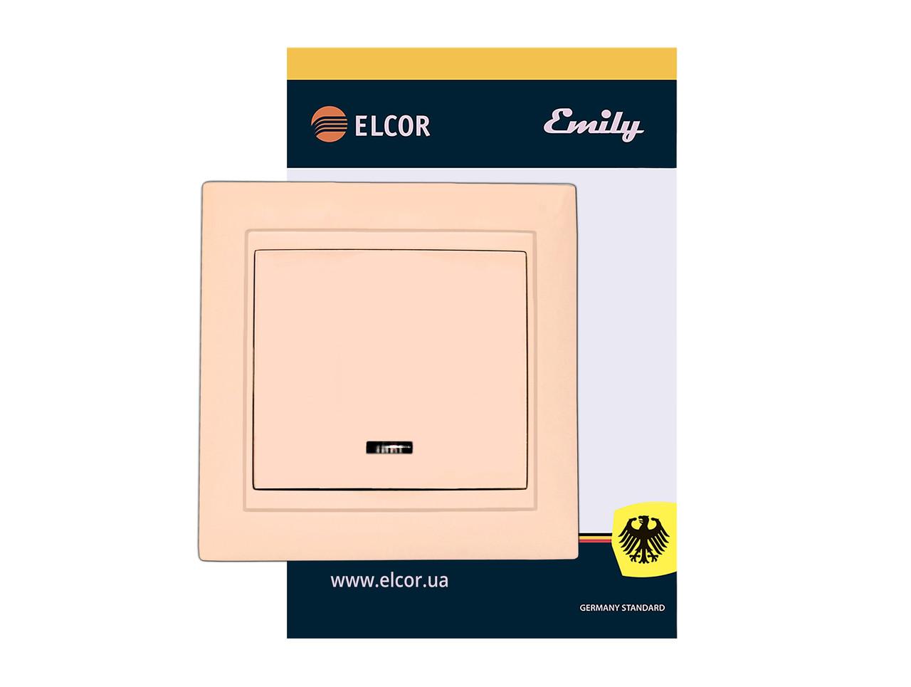 Виключатель одинарный (1-клавишный) с подсветкой Emily 9215 крем ЕLCOR (211544)