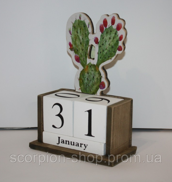 """Вечный календарь """"Цветущий кактус"""" Размер: 14,5*7*20 см"""