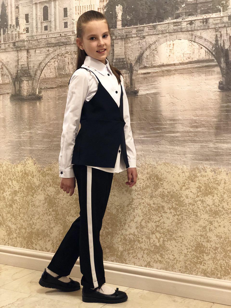 Блузка с желеткой в школу  для девочки р.122-152 опт