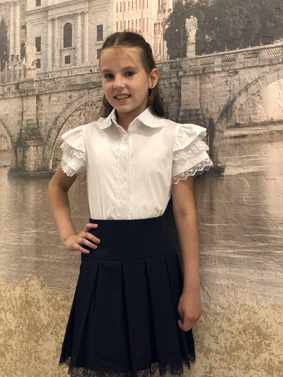 Блузка в школу  для девочки р.122-152 опт