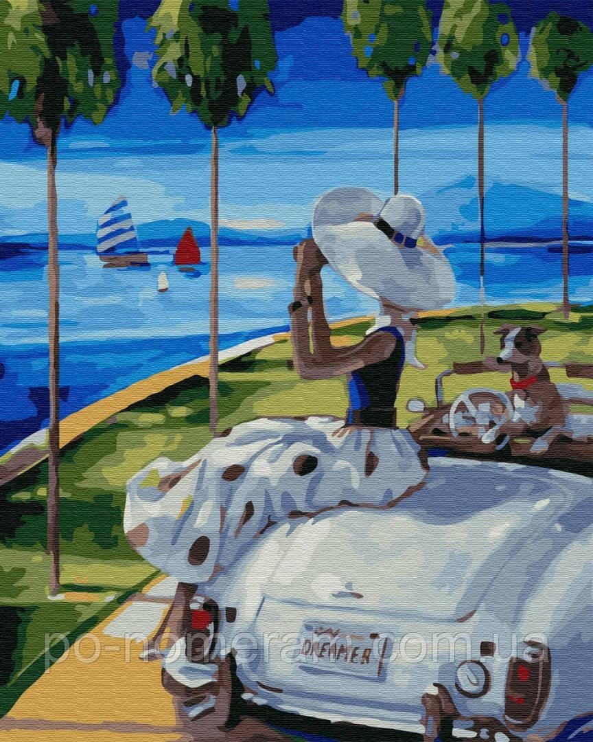 Картина по номерам Мечтательница на побережье (BK-GX29724) 40 х 50 см (Без коробки)