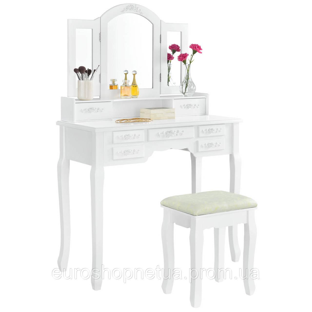 Туалетный столик Эльза2 белый с зеркалом