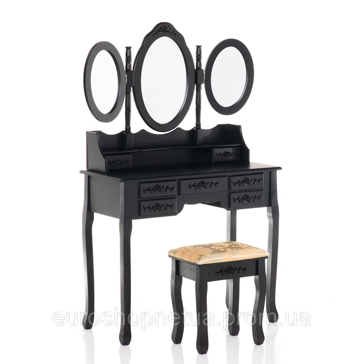 Туалетный столик Эльза черный с зеркалом