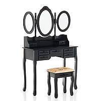 Туалетный столик Эльза черный с зеркалом, фото 1