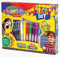 Набор для рисования на лице, в наборе PARTY SET 10 цветов + 5 ручок ТАТОО+ 3 трафареты, COLORINO, 80115PTR