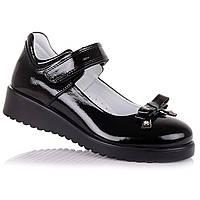 5e63e7ddd Стильные лаковые туфли с бантиком для школы для девочек Azra 16.5.61 (31-