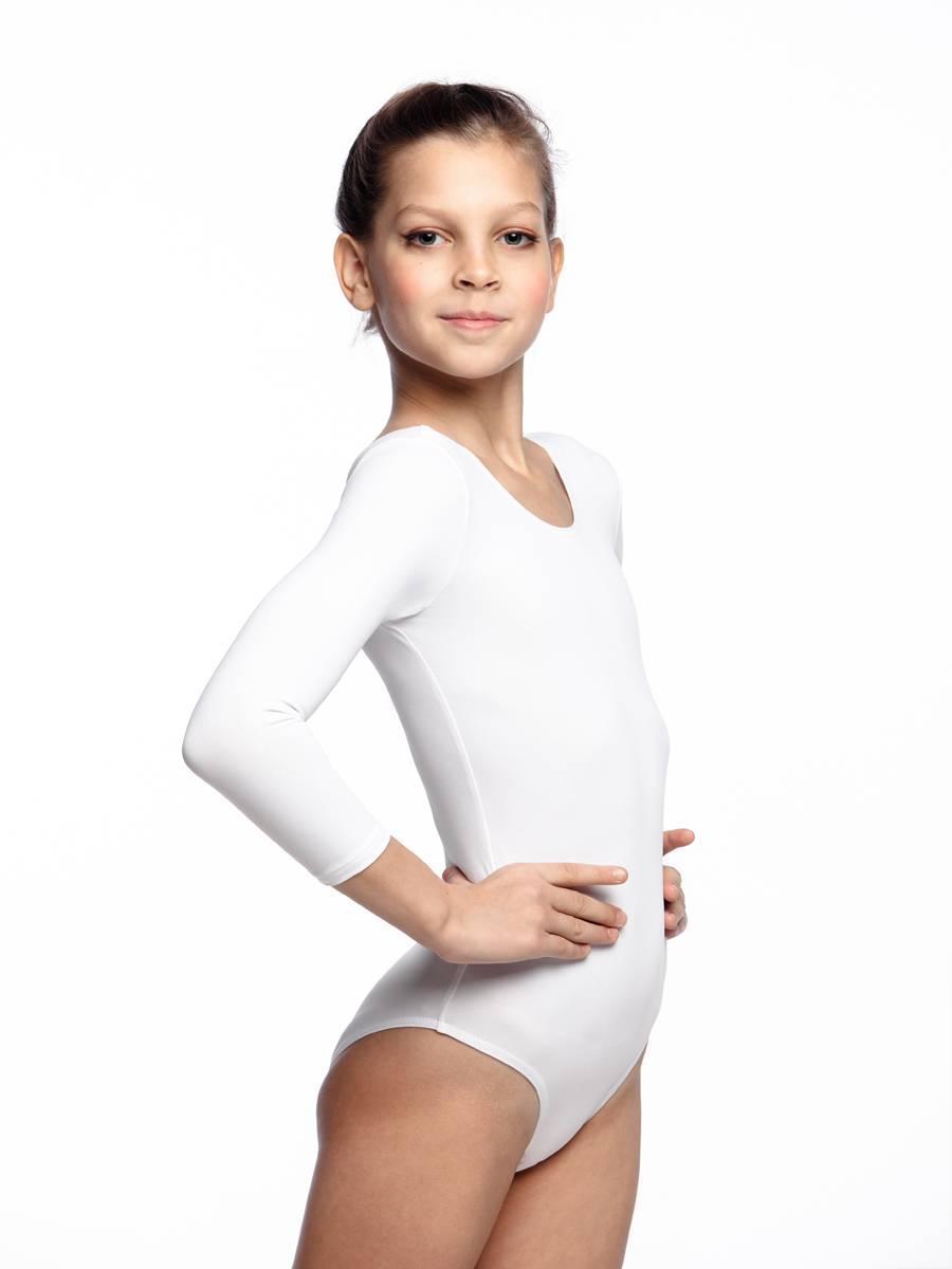 Детский купальник для танцев и гимнастики цвет Белый Бифлекс рост от 98 до 158 см