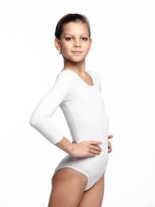 Детский купальник для танцев и гимнастики цвет Белый Бифлекс рост от 98 до 158 см, фото 2