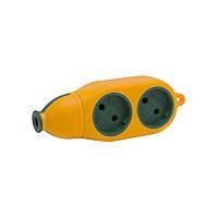 Колодка электрическая двухсторонняя 10-16 А 2 гнезда оранжевая