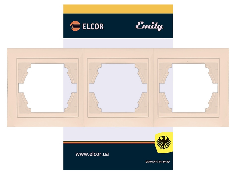 Рамка 3-місна горизонтальна Emily 9215 крем ELCOR