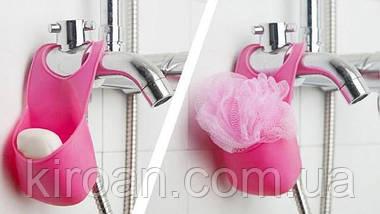 Тримач силіконовий змішувач для губок,мила Туреччина GP-125 (мочалка в подарунок) колір-рожевий, фото 2