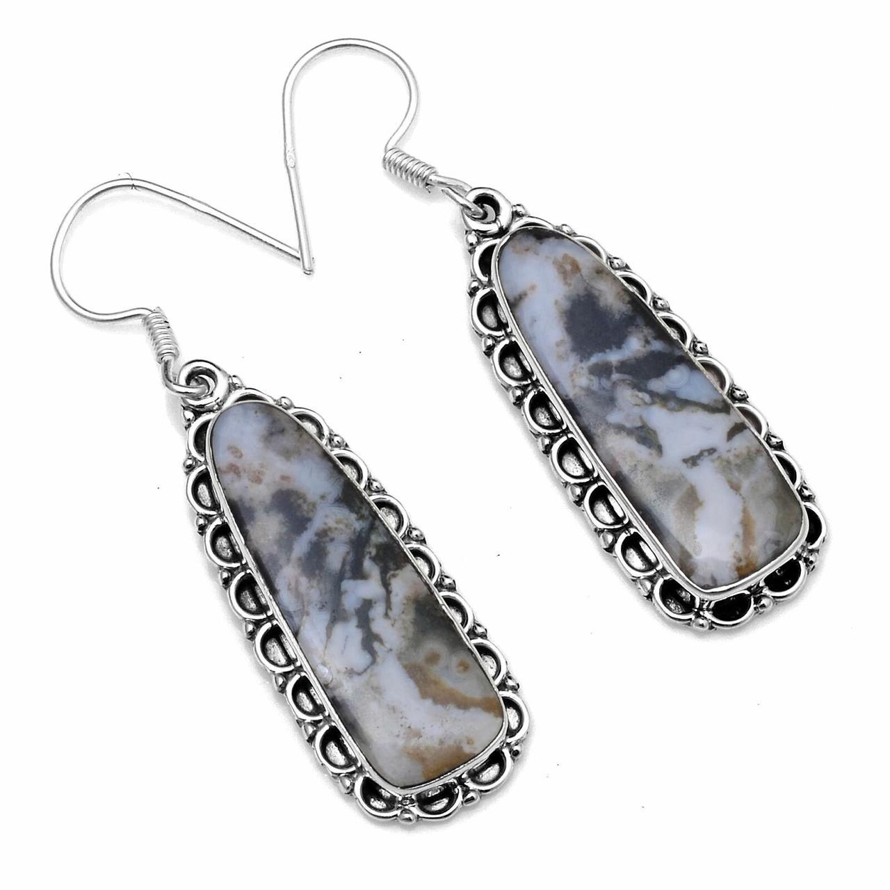 Серебряные серьги с моховым агатом, 1032СА