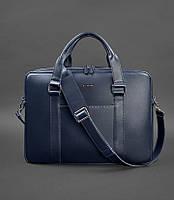 Сумка-портфель для ноутбука компьютера, документов кожаная синяя, фото 1