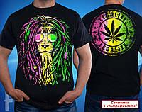 Мужская футболка с ярким принтом  Rasta Lion / Legalize светится в ультрафиолете оригинальный подарок мужчине