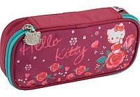 """Пенал косметичка Kite HK18-662 """"Hello Kitty"""", бордо 1змейка 21х8,5х5см полиэстер"""
