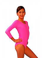 Детское трико, купальник для танцев и гимнастики бифлекс Малиновый рост от 98 до 158 см