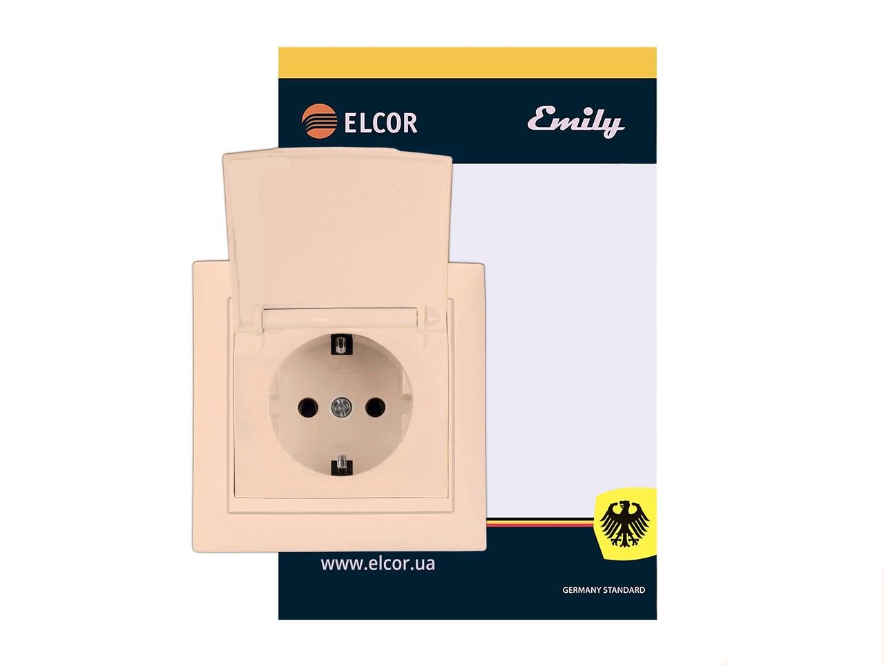 Розетка с заземлением внутрення с защитными шторками с крышкой Emily 9215 крем ELCOR (211580)