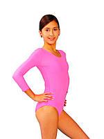 Детский гимнастический купальник бифлекс Розовый рост от 98 до 158 см