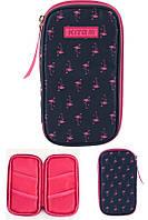 """Пенал плоский мягкий Kite K19-605-1 """"Flamingo Fashion"""", 1 змейка 4кармашка 21х11х2см полиэстер"""