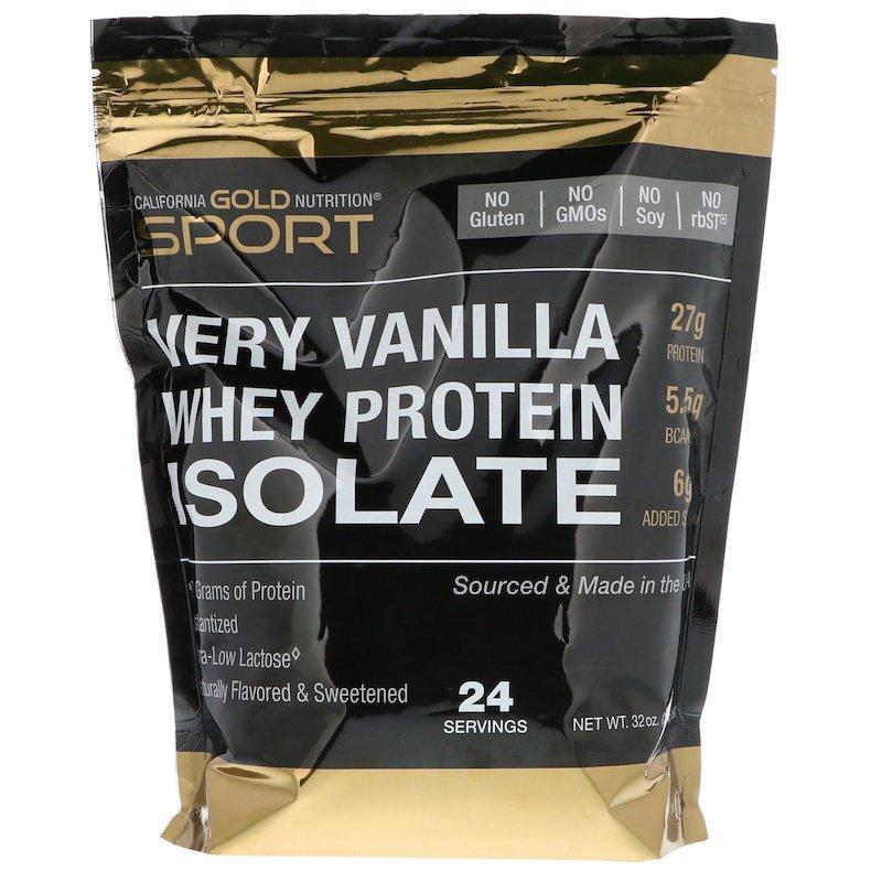 "Ізолят сироваткового протеїну California GOLD Nutrition, SPORT ""Whey Protein Isolate"" смак ванілі (908 г)"