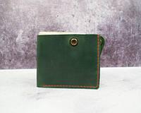 Малий гаманець Січ із натуральної шкіри зелений
