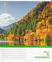 "Тетрадь 18 листов ТЕТРАДА клетка ""Сонце і гори"", фото 3"