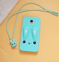 Чехол Funny-Bunny 3D для Meizu M6 Бампер резиновый голубой