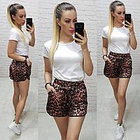 Женские шорты короткие ткань шелк Армани принтованый цвет тигр темный, фото 1