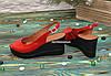 Босоножки женские кожаные на устойчивой платформе, цвет красный, фото 3