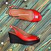 Босоножки женские кожаные на устойчивой платформе, цвет красный, фото 4