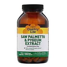 """Витамины пальметто и пиджеум Country Life """"Saw Palmetto & Pygeum Extract"""" экстракт для простаты (180 капсул)"""