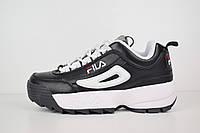 Женские кроссовки в стиле Fila disruptor 2, кожа черные с белым значком 36 (23 см)