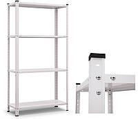 Стелаж металевий  РЕК фарбований з полицями зі сталі, 1500х750х300мм, 35кг на полицю, 4 полиці; білий