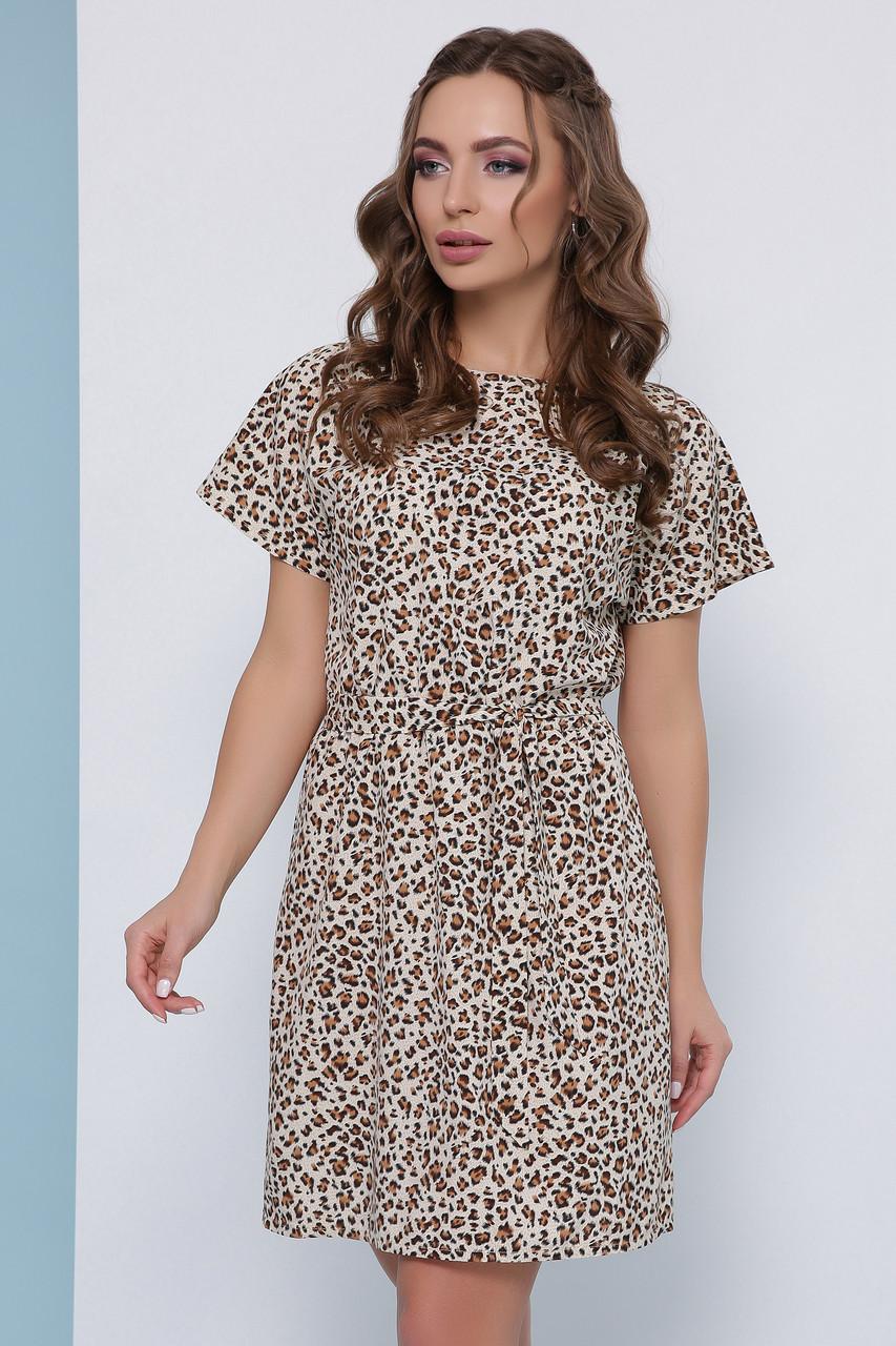 Легке плаття з короткими рукавами і пояском в леопардовий принт бежеве