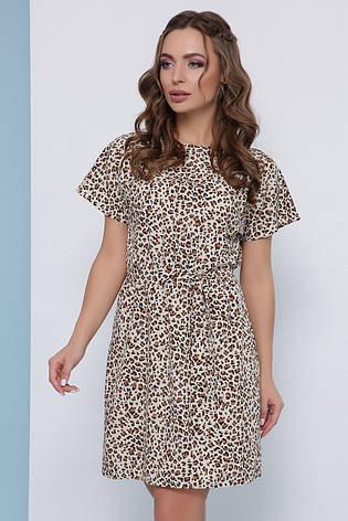 Легке плаття з короткими рукавами і пояском в леопардовий принт бежеве, фото 2