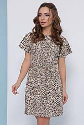 Легкое платье с короткими рукавами и пояском в леопардовый принт бежевое