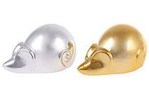 Декоративная фигурка Мышка,10см, 2 вида - серебро, золото глянец