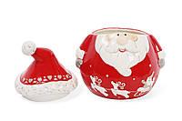 Банка керамическая с крышкой Санта, 850мл, цвет - красный
