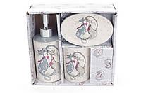 Набор для ванной керамический с объемным рисунком Влюбленные коты: диспенсер 375мл, мыльница, стакан 300мл