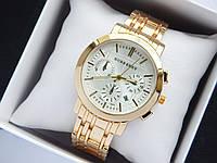 Кварцевые наручные часы Burberry золото, дополнительные циферблаты, календарь, на металлическом браслете