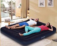 Велюровая кровать-матрас INTEX 64144, 182-203-25 см, черный