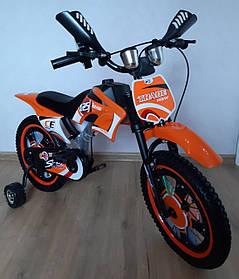 Детский велосипед Мотоцикл Trade двухколесный 12 дюймов. С дополнительными колесиками. На 2-4