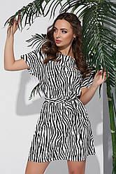 Свободное короткое летнее платье с короткими рукавами и пояском принт зебра